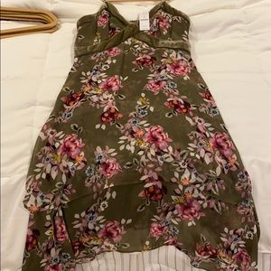 Never worn Olive green dress with pink flowers.